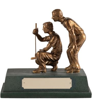 "Antique Gold Resin 'Golf Partners' Award 15cm (6"")"