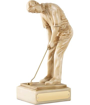 "Resin Male Champion Golfer Ivory Finish 20.5cm (8"")"