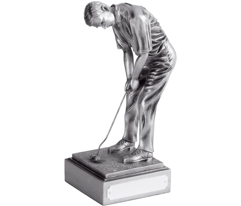 "Resin Male Champion Golfer Antique Silver Finish 20.5cm (8"")"