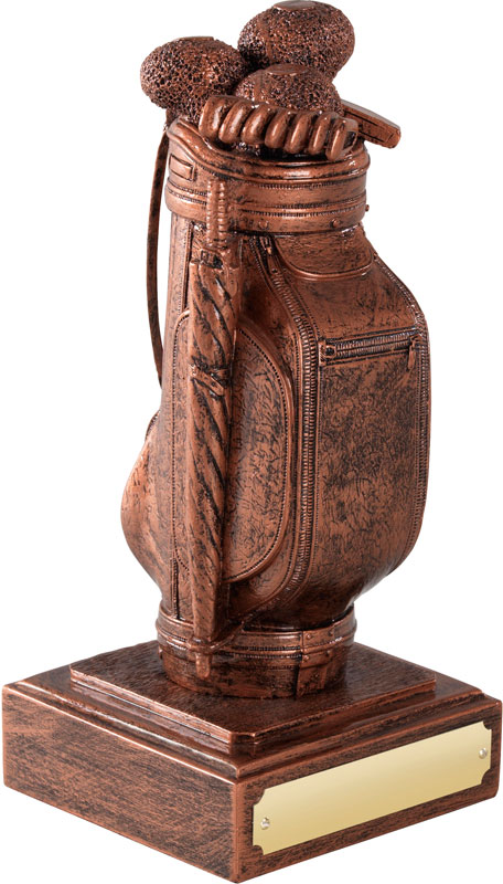 "Resin Golf Bag Award Copper Finish 16cm (6.25"")"