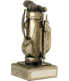 "Resin Golf Bag Award Antique Gold Finish 12.5cm (5"")"