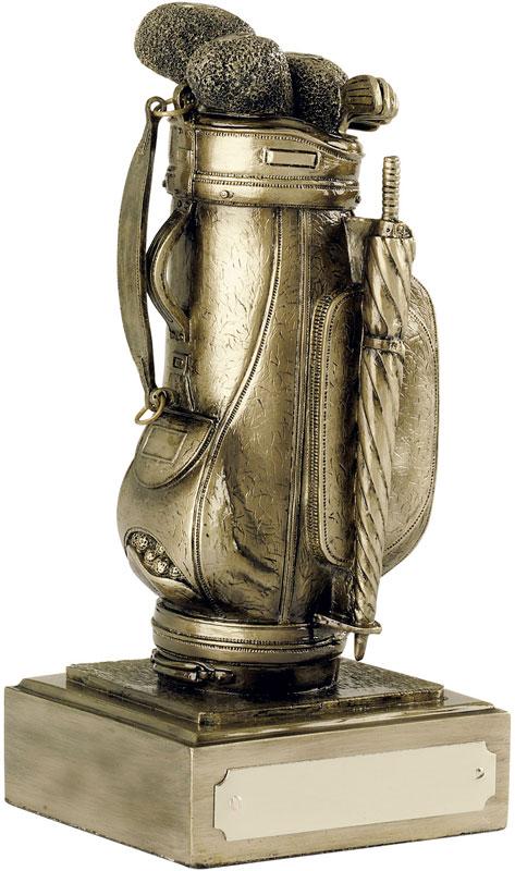 "Resin Golf Bag Award Antique Gold Finish 12.5cm (5"")"