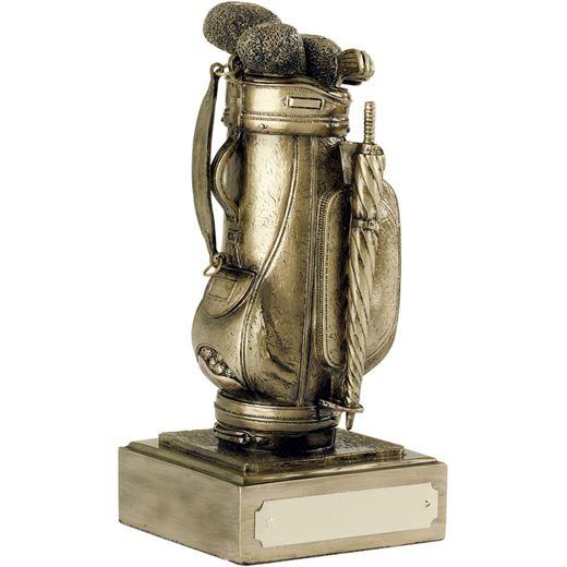 "Resin Golf Bag Award Antique Gold Finish 16cm (6.25"")"