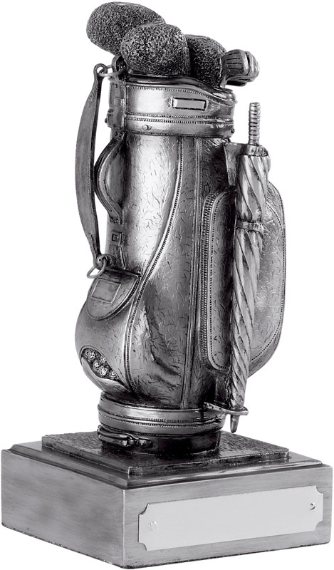 "Resin Golf Bag Award Antique Silver Finish 19cm (7.5"")"