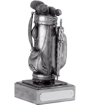"Resin Golf Bag Award Antique Silver Finish 12.5cm (5"")"