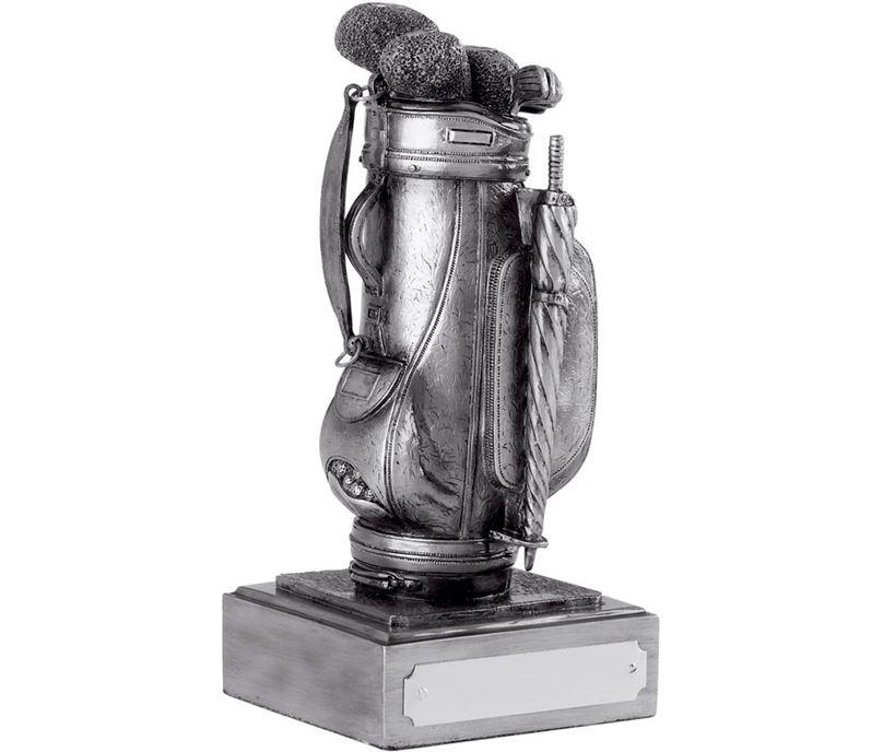 "Resin Golf Bag Award Antique Silver Finish 16cm (6.25"")"