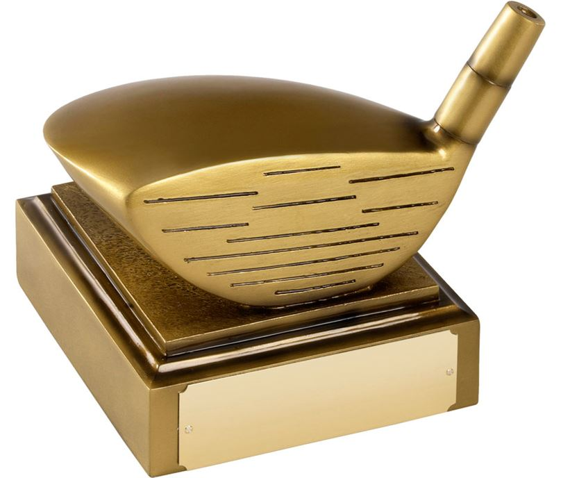"Full Size Driver Golf Club Head Award in Antique Gold Finish 15cm (6"")"