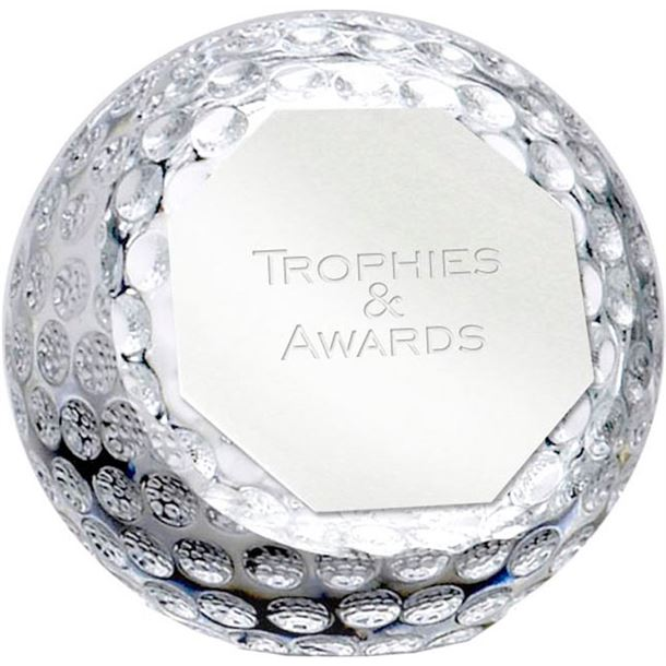 "Optical Crystal Golf Orb Paperweight 10cm (4"")"