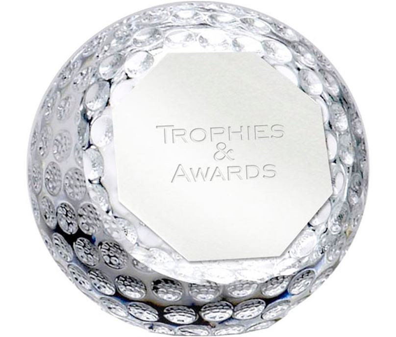 "Optical Crystal Golf Orb Paperweight 6cm (2.25"")"
