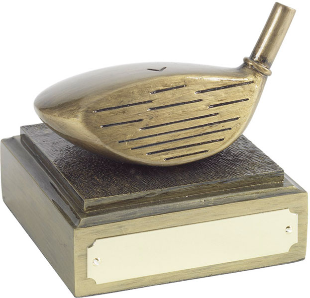 "Golf Club Driver Head Award Antique Gold Finish 8cm (3.25"")"