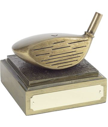 "Golf Club Driver Head Award Antique Gold Finish 8cm (3.25"")"