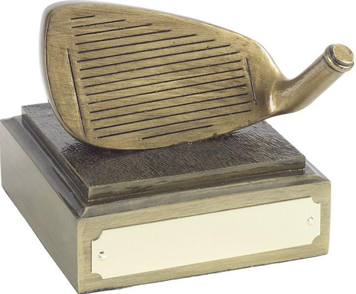 "Golf Club Iron Head Award Antique Gold Finish 8cm (3.25"")"
