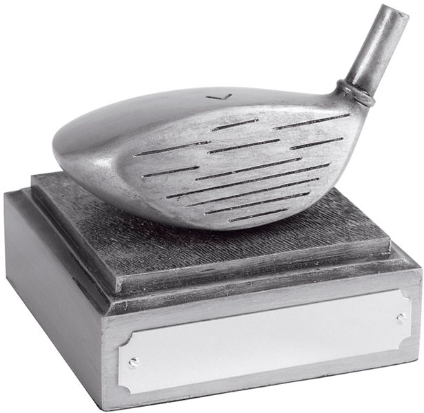 "Golf Club Driver Head Award Antique Silver Finish 8cm (3.25"")"
