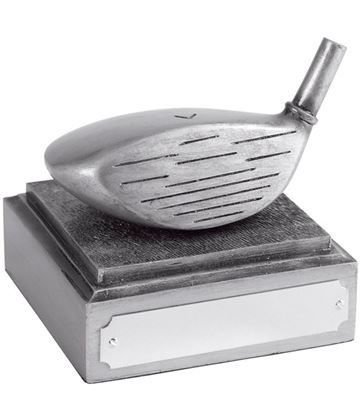 "Golf Club Driver Head Award Antique Silver Finish 8cm (3.25"")"