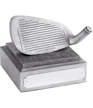 "Golf Club Iron Head Award Antique Silver Finish 8cm (3.25"")"