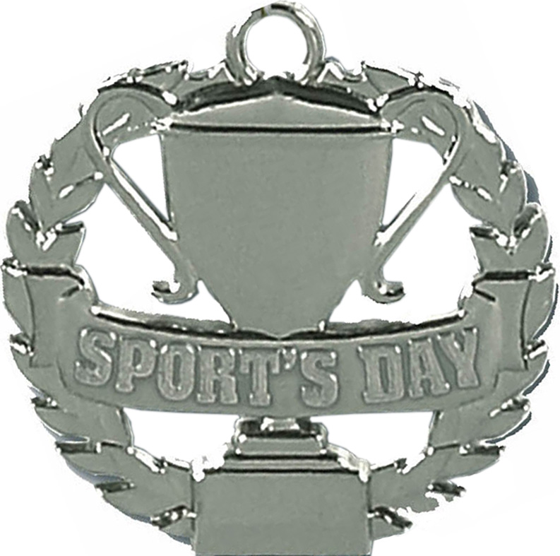 "Silver Sports Day Medal 50mm (2"")"