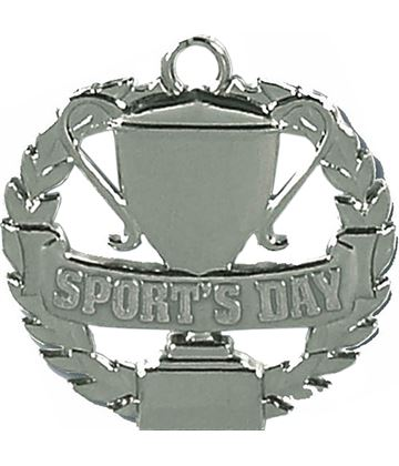 """Silver Sports Day Medal 50mm (2"""")"""