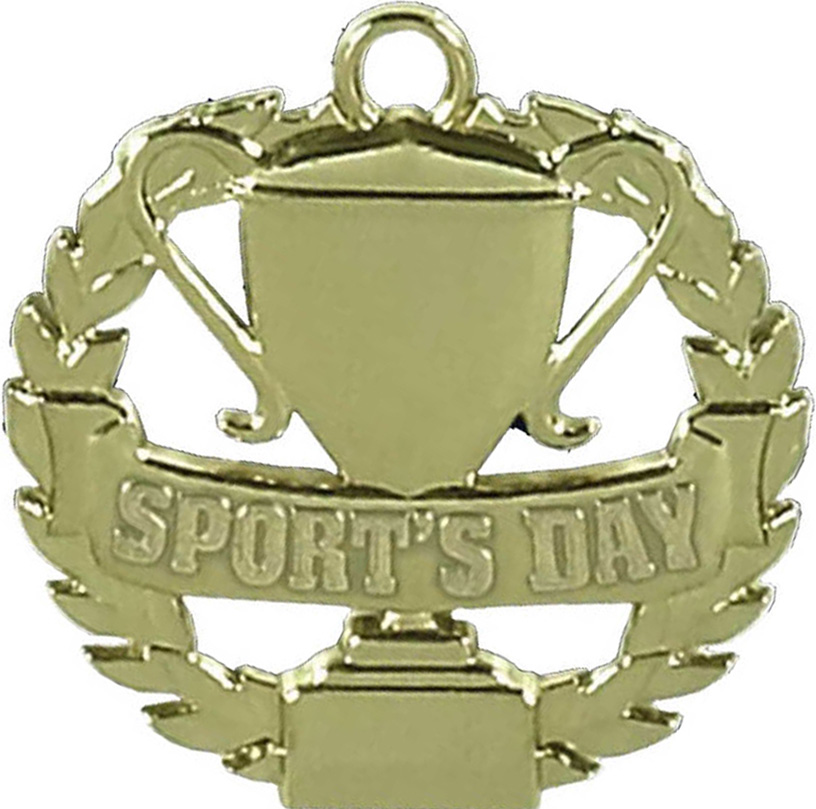 """Gold Sports Day Medal 50mm (2"""")"""