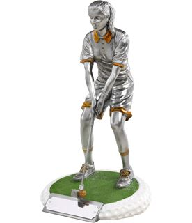 "Female Golfer On Golf Ball Style Base Antique Silver 23cm (9"")"