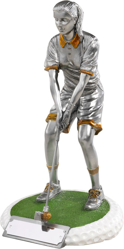 "Female Golfer On Golf Ball Style Base Antique Silver 18cm (7"")"