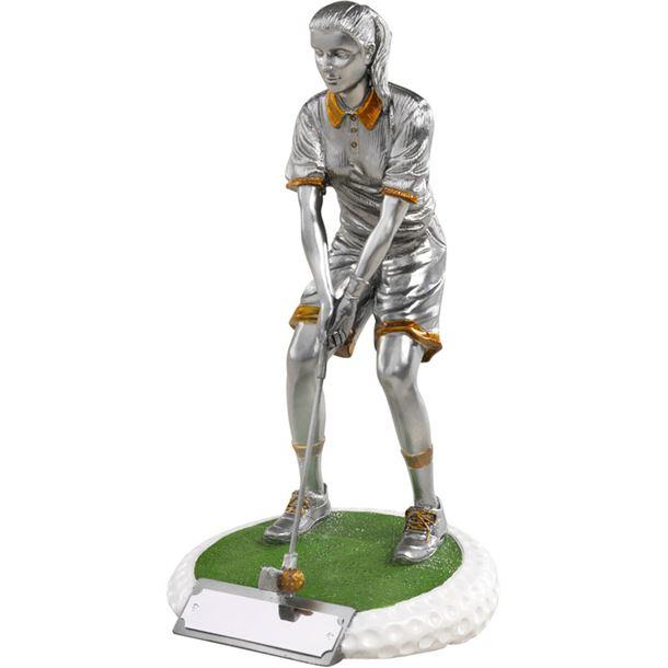 "Female Golfer On Golf Ball Style Base Antique Silver 23cm (9"")"