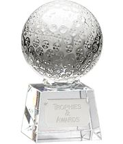 "Glass Golf Ball Award on Thick Glass Base 13.5cm (5.25"")"