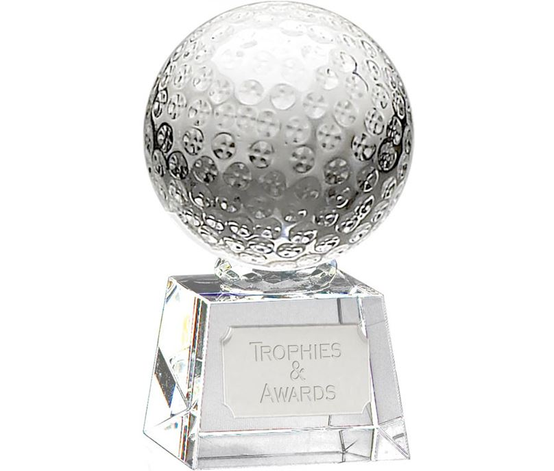 "Glass Golf Ball Award on Thick Glass Base 10cm (4"")"