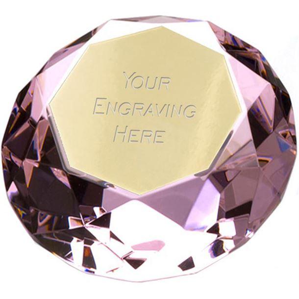 "Pink Clarity Diamond Paperweight Award 8cm (3.25"")"