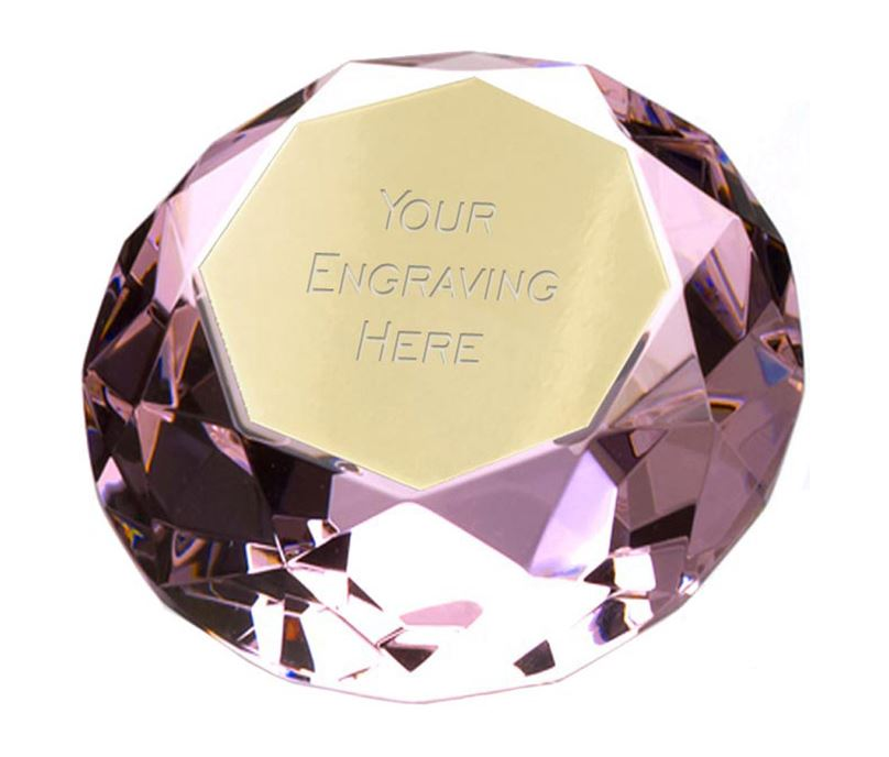 "Pink Clarity Diamond Paperweight Award 8cm (3.25"")"
