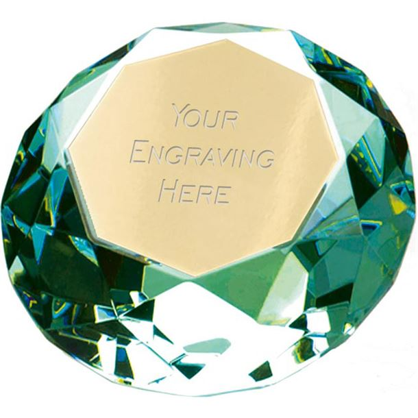 "Green Clarity Diamond Paperweight Award 6.5cm (2.25"")"