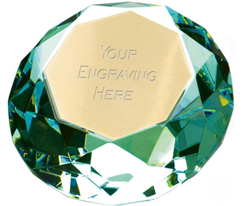 "Green Clarity Diamond Paperweight Award 6.5cm (2.25"")"