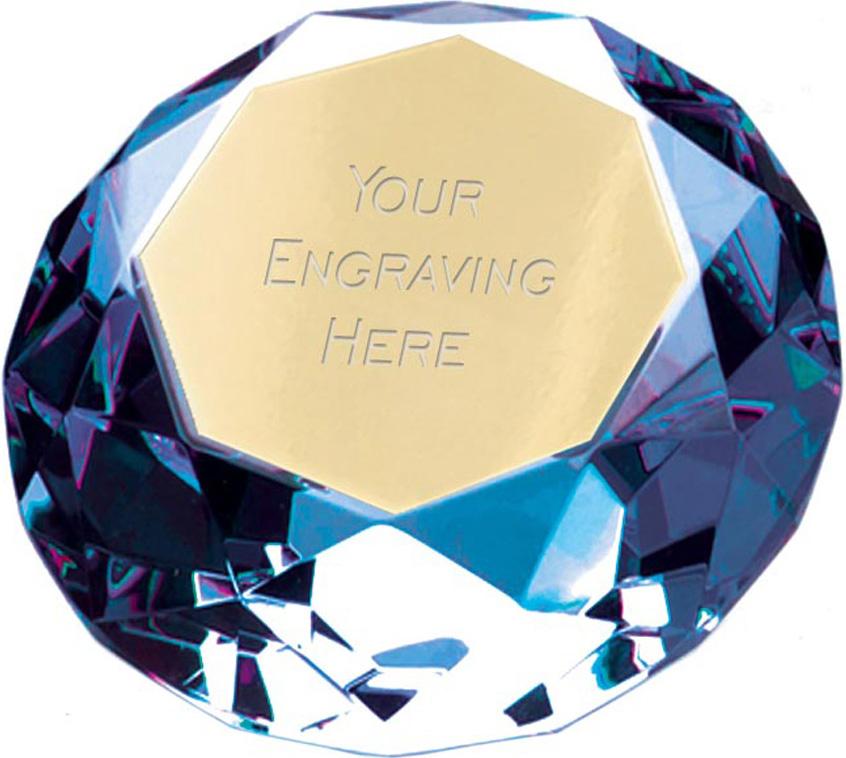 "Blue Clarity Diamond Paperweight Award 10cm (4"")"