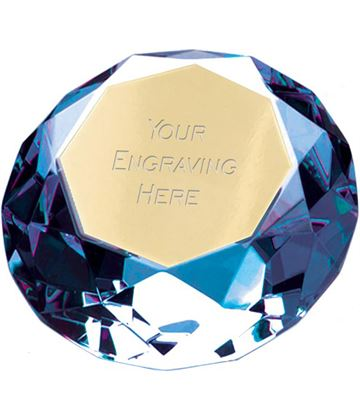 "Blue Clarity Diamond Paperweight Award 8cm (3.25"")"