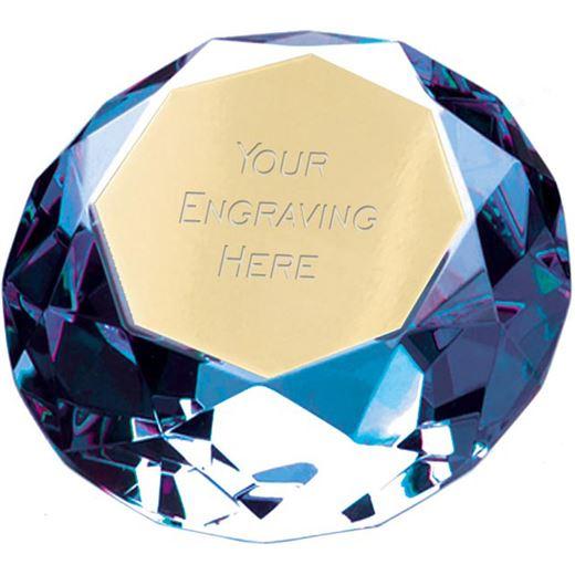 "Blue Clarity Diamond Paperweight Award 8cm (3.25"")"