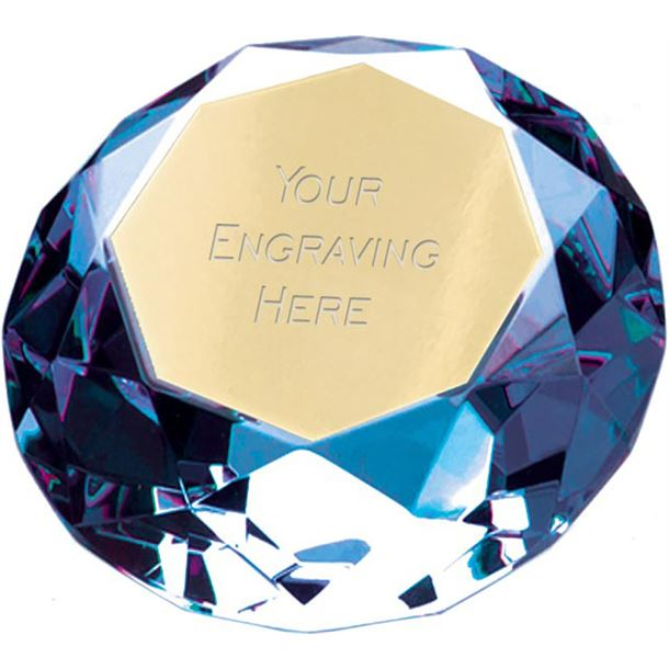 "Blue Clarity Diamond Paperweight Award 6.5cm (2.25"")"
