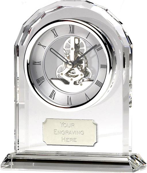 "Large Optical Crystal Arch Clock Award 17cm (6.75"")"