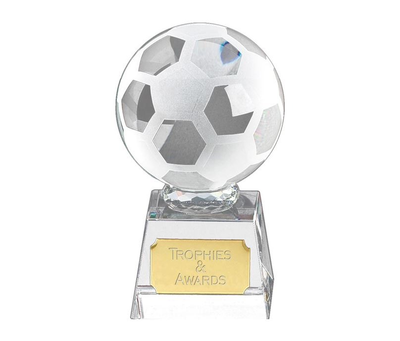 "Football mounted on Glass Award 9.5cm (3.75"")"