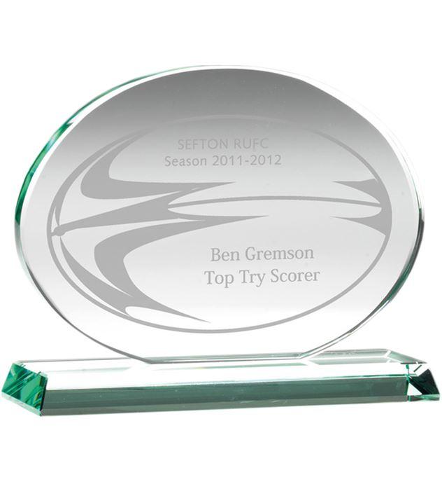 "Oval Jade Glass Award 14.5cm (5.75"")"