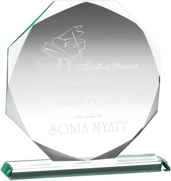 "Octagonal Jade Glass Award 14.5cm (5.75"")"