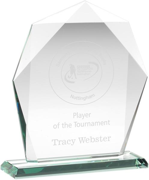 """Jade Glass Heptagon Award on Base 16.5cm (6.5"""")"""