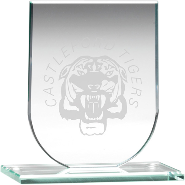 "Jade Glass Shield Plaque on Base 13.5cm (5.25"")"