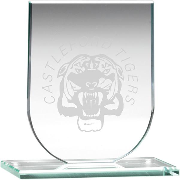 """Jade Glass Shield Plaque 13.5cm (5.25"""")"""