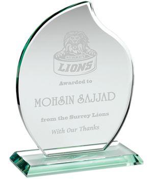 "Jade Glass Teardrop Shaped Award 21.5cm (8.5"")"