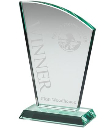 "Flair Plaque Jade Glass Award 17cm (6.75"")"