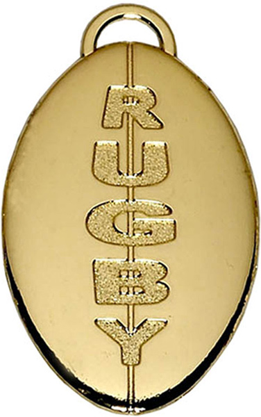 """Gold Rugby Ball Medal 40mm (1.5"""")"""