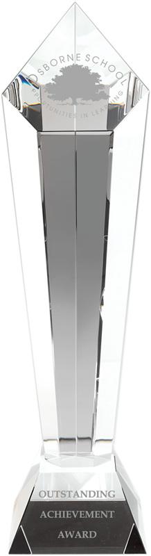 "Optical Crystal Pentagonal Column Award 35cm (13.75"")"
