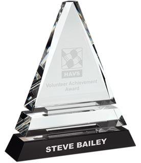 "Triple Tier Optical Crystal Pyramid Award 16.5cm (6.5"")"