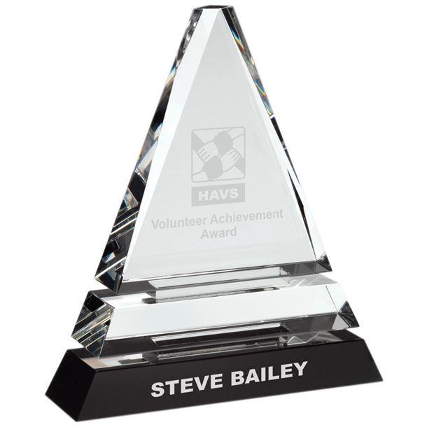 "Triple Tier Optical Crystal Pyramid Award 19.5cm (7.75"")"