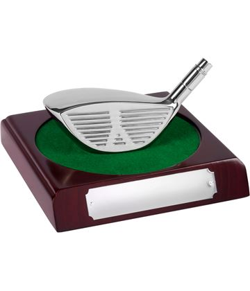 "Silver Metal Wood Longest Drive Trophy 9cm (3.5"")"
