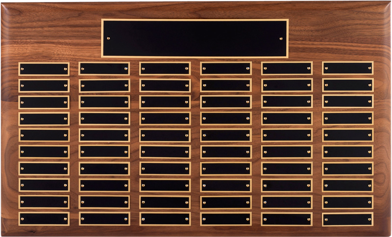 Traditional Walnut Plaque with 60 Solid Brass Plates 38cm x 53.5cm